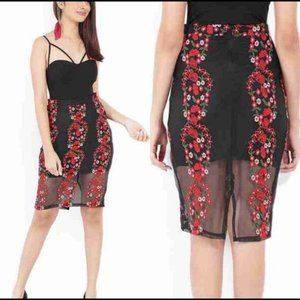 Forever 21 Floral Embroidered Midi Skirt Size S